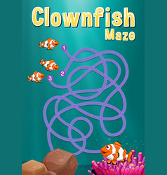 game template with clownfish and coral reef vector image
