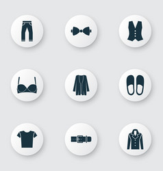 Garment icons set with slipper bra coat and vector