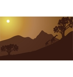Giraffe silhouette on the hill vector