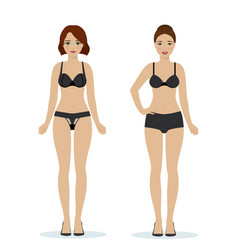 girls in black underwear vector image