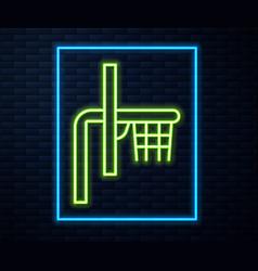 Glowing neon line basketball backboard icon vector