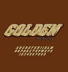 golden font lettering typeface vintage poster on vector image