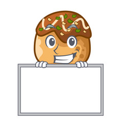 Grinning with board cartoon cooking takoyaki in vector