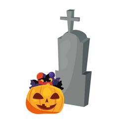 halloween gravestone and candies pumpkin vector image