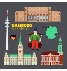 Hamburg Germany Travel Doodle with Architecture vector image