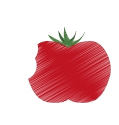 Hand colored drawing tomato bite icon vector