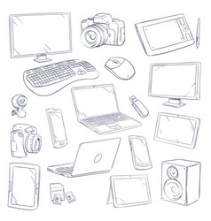 Hand drawn sketch computer technology gadgets vector