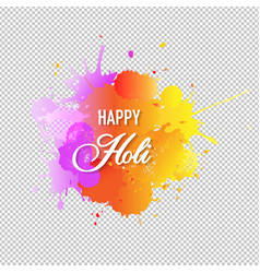 happy holi card with blobs transparent background vector image