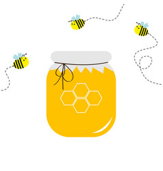 Honey jar pot icon honeycomb logo beehive element vector