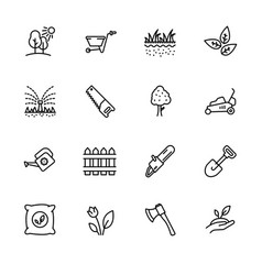 icon set gardening agriculture and horticulture vector image