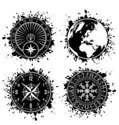 ink blots grunge elements vector image