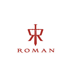 knight sword medieval initial letter r roman logo vector image