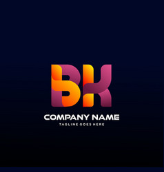 Letter bk initial logo with colorful vector