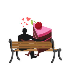 lover of cakes man and piece of cake sitting on vector image