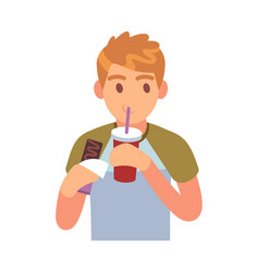 man drinking sports young person drinks from vector image
