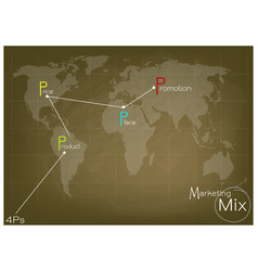 marketing mix strategy or 4ps model on world map vector image