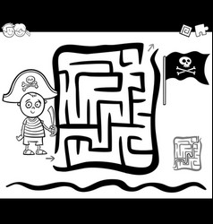 Maze with pirate boy coloring page vector