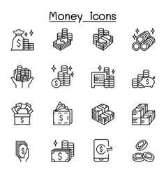 Money cash currency coin icons set in thin line vector