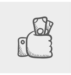 Money in hand sketch icon vector image
