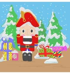 Nutcracker with gifts vector image
