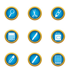 Office plankton icons set flat style vector