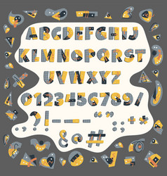 papercut colorful alphabet vector image