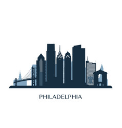 philadelphia skyline monochrome color vector image