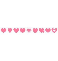 pink heart line icon set happy valentines day vector image