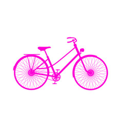 Pink silhouette of retro bicycle vector