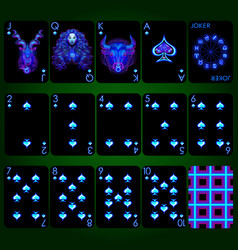 Playing cards series neon zodiac signs spade vector