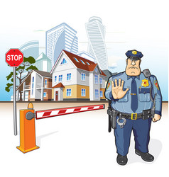 Police patrol sheriff stop sign barrier vector