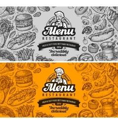 restaurant cafe menu template design hand drawn vector image
