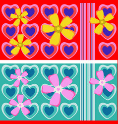 seamless ornament with hearts and flowers vector image