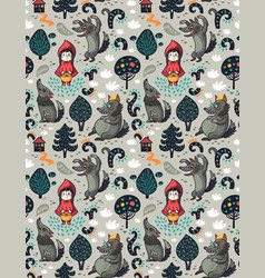 Seamless pattern with little red riding hood and vector