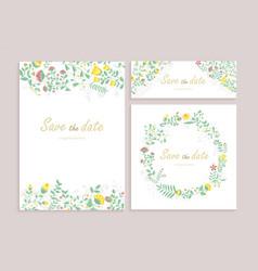 Set greeting card wirh floral decor heartily vector