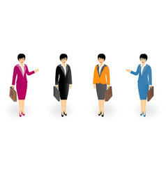 Set of business women in office clothes with a vector