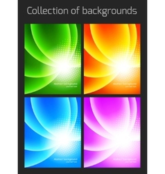 Set of colorful backgrounds with light effect vector