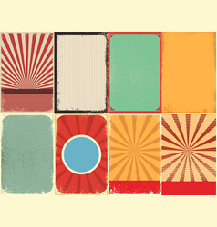 set of retro style grunge backgrounds design vector image