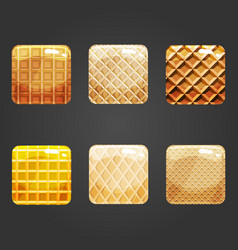 set of shiny waffle square button vector image
