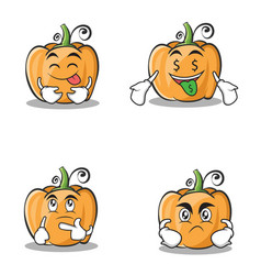 Set pumpkin character cartoon style collection vector