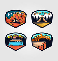 Set vintage camping logo outdoor adventure vector