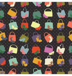 Silhouettes of handbagshoes seamless pattern vector