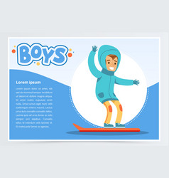 smiling boy snowboarding boys banner for vector image