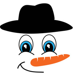 snowman face icon funny in black hat big vector image