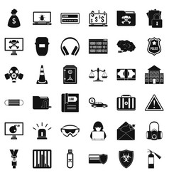 spam virus icons set simple style vector image