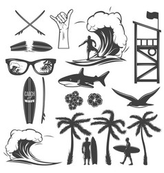 Surfing black icon set vector