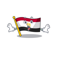 Surprised flag egypt folded in mascot cupboard vector
