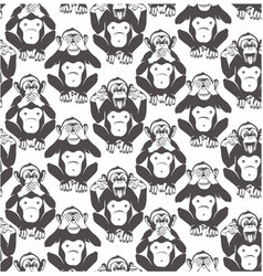 three wise monkeys seamless pattern vector image