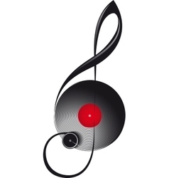 treble clef in form turntable vector image