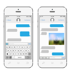 Two chat screens templates on white smartphones vector